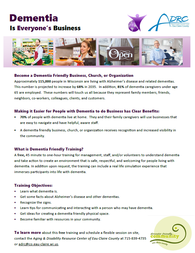 Dementia Business Training Flyer 2018